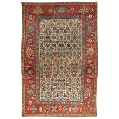 Antique Persian Bidjar Carpet with Ivory, Rose, Green, Blue and Aubergine