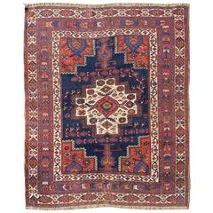 Antique Persian Afshar Carpet with Stylized Chrysanthemums and Vase Design