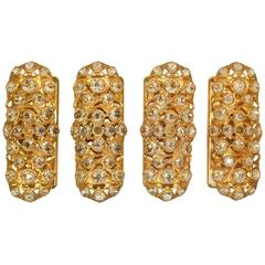 Set of Four Gold Toned Metal Sconces with Sunken Glass Prisms, Signed