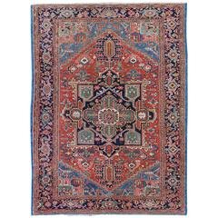 Antique Heriz-Serapi Persian Carpet with Geometric Medallion in Red and Blue