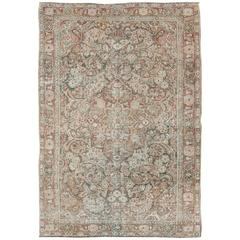 Antique Persian Mahal Carpet with Flowers and Palmettes in Faint Green