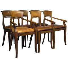 Set of Six, 20th Century Dining Chairs with Leather Seat Pads