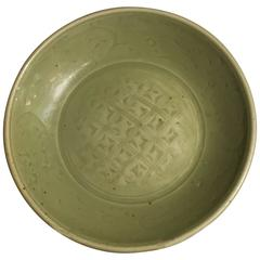 Ming Dynasty Longquan Celadon Dish with Geometric Design, 15th Century