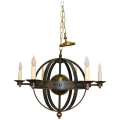 Orbit Form Spherical Globe Chandelier in Verdigris Metal and Brass