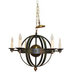 Orbit Form Spherical Globe Chandelier in Verdigris Metal and Brass