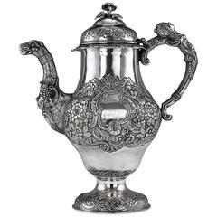 Antique Irish Solid Silver Figural Coffee Pot, James Le Bas, Dublin, circa 1821
