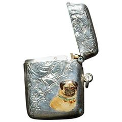 Sterling Silver English Vesta Matchbox with Enamel of Pug Dog, circa 1910