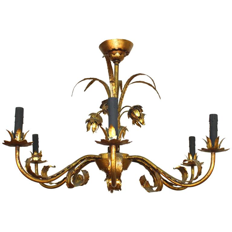 Tole Chandelier with Gilt Floral Detail and Faux Black Candles