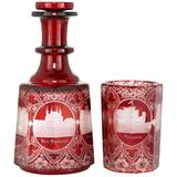 Bohemian Ruby Etched and Cut Glass Decanter and Tumbler Set