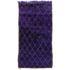 Contemporary Berber Moroccan Rug with Boho Chic Style in Purple and Yellow Gold