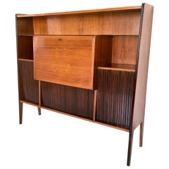 Majestic Wood, Crystal and Mirror Bar Cabinet, Italy, 1950s