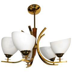 Modern Brass Five-Light Chandelier with Teak Details