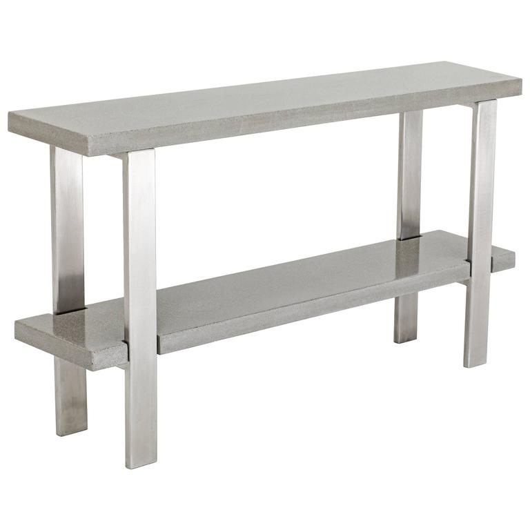 Beau James De Wulf Industrial Console Table, Concrete And Brushed Stainless Steel  For Sale