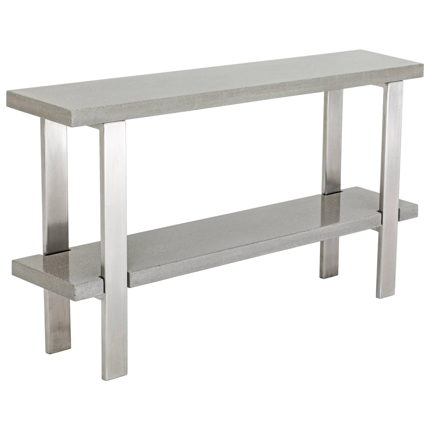 James De Wulf Industrial Console Table, Concrete And Brushed Stainless Steel