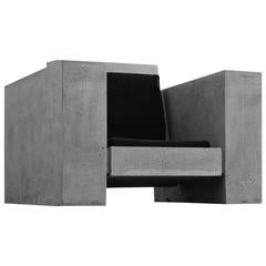 James de Wulf Lowboy Block Chair, Concrete and Sunbrella with Dryfast Foam