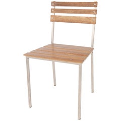 James de Wulf Heirloom Patio Dining Chair, Stainless Steel and Ipe Ironwood