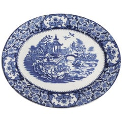 19th Century English Blue and White Chinoiserie Platter