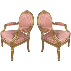 Pair of Early 20th Century French Giltwood Walnut Fauteuils