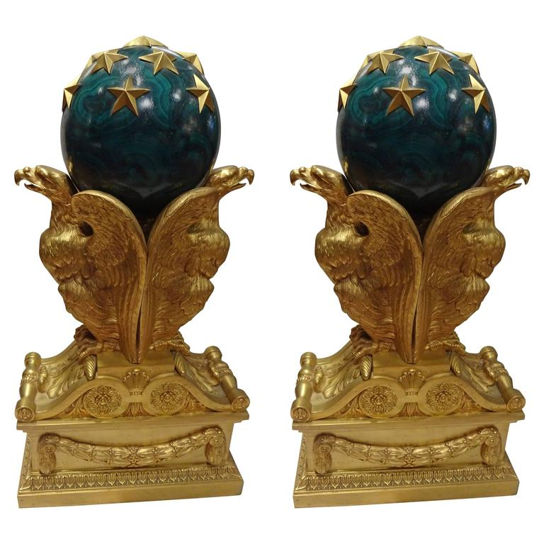 Oversized Chenets, Architectural Elements 19th Century, Gilt Bronze Eagles For Sale