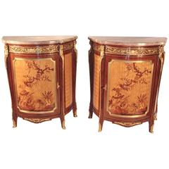 Pair of Inlay French Style Demilune Marble-Top Cabinets