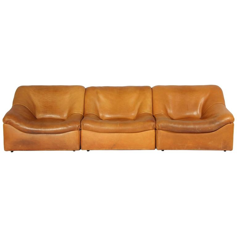 DS-46 Thick Buffalo Leather Lounging Chairs from De Sede, 1970s, Set of Six