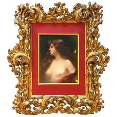 Palatial Porcelain Plaque, circa 1900 KPM Signed of a Beautiful Maiden