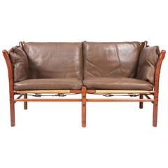Ilona Sofa in Patinated Leather by Arne Norell