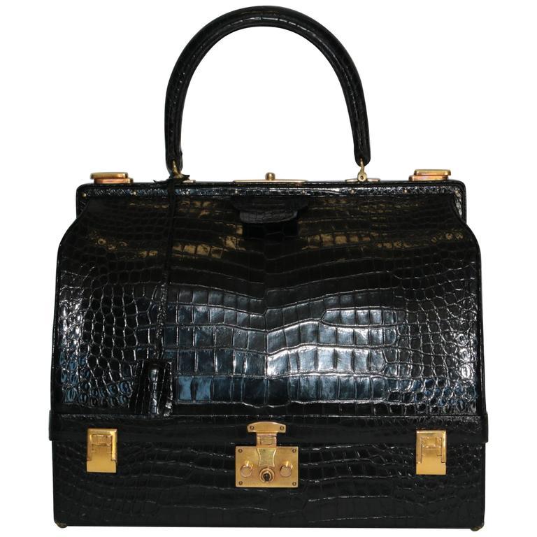 Hermes Shiny Black Crocodile Sac Mallet Bag with Gold Hardware