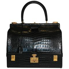 Hermes Shiny Black Crocodile Sac Mallet Bag with Gold Hardware