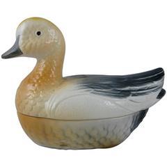 Vintage Mid-Century French Faïence Figural Duck Pâté Terrine