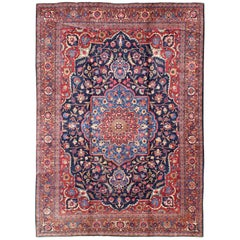 Persian Tabriz Rug with Central Medallion and Red Cornices in Floral Motif