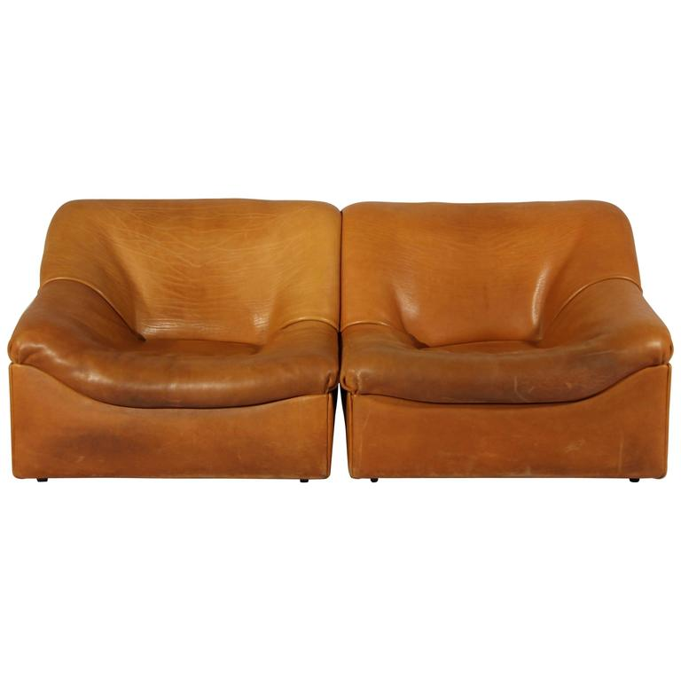 DS-46 Thick Buffalo Leather Lounge Chairs from De Sede, 1970s, Set of Two