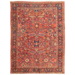 Antique Persian Sultanabad Rug with Palmettes and Flowers in Red and Blue
