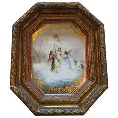 Trimph Der Venus Royal Vienna Platter Framed Signed and W Bee Hive Marking