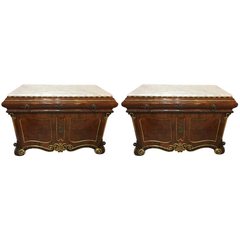 Pair of 19th Century Continental Marble-Top Commode or Chests