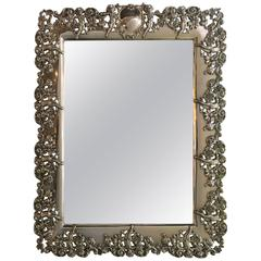 Black Staff and Frost Sterling Silver Vanity Wall Mirror