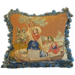 19th Century Figural Needlepoint Pillow by Mary Jane McCarty