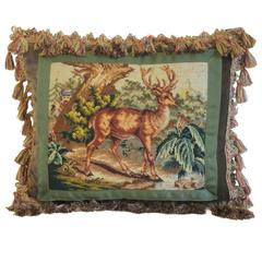 Vintage Needlepoint with Deer by Mary Jane McCarty