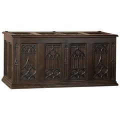 19th Century French Gothic Revival Hand Carved Oak Trunk