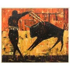 'The Matador' Acrylic on Wood, Signed 'R. Sanke'
