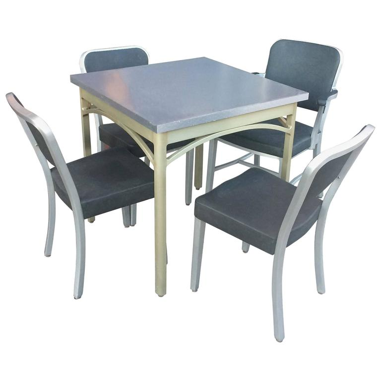 Mid-Century Brushed Aluminium Dining Set by GoodForm For Sale