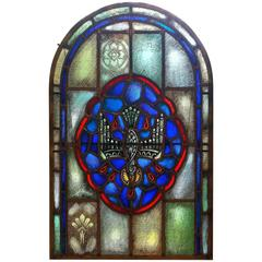 American Stained Glass Arched Window, Holy Spirit, Early 20th Century
