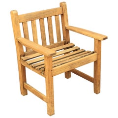 English Lister Chair of Teak for the Garden and Patio