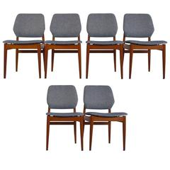 Set of Six Mid-Century Modern Casala Chairs with Teak Frame