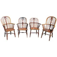 Collection of Four 19th Century Original Surface Windsor Chairs
