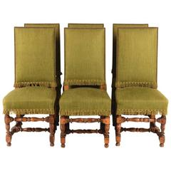 Set of Six Oak Frame Louis XIII Style High Back Chairs, circa 1940