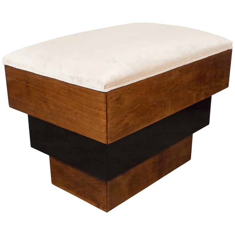 Stunning Art Deco Skyscraper Style Three-Tiered Walnut and Black Lacquer Bench 1
