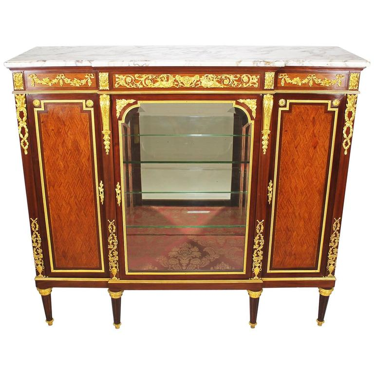 French 19th-20th Century Louis XVI Style Ormolu-Mounted Kingwood Vitrine Cabinet For Sale