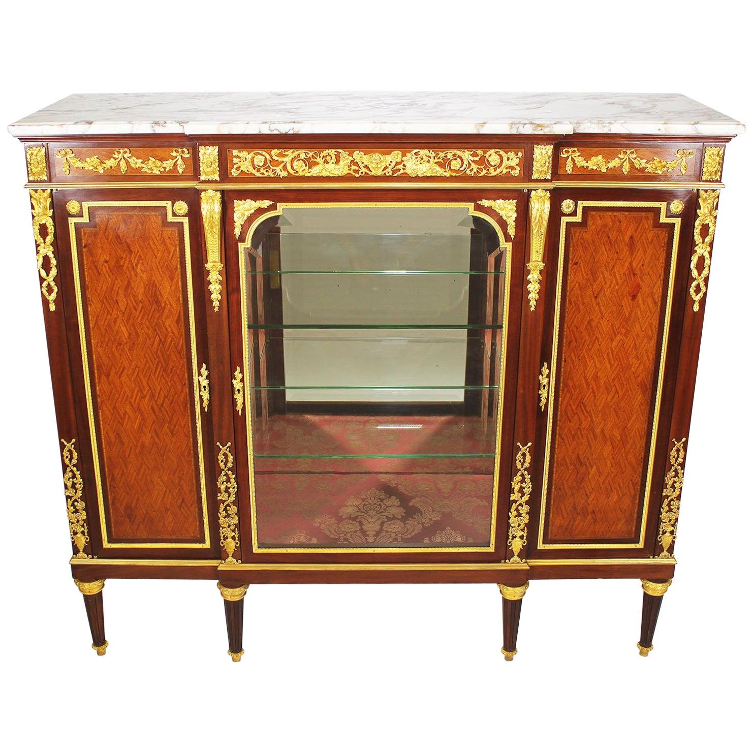 French 19th-20th Century Louis XVI Style Ormolu-Mounted Kingwood Vitrine Cabinet