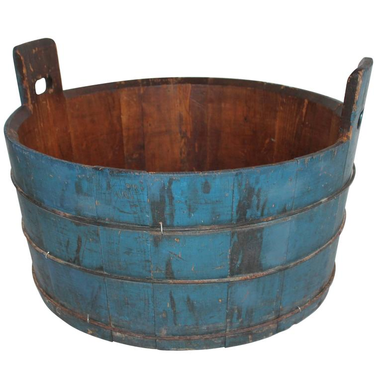 19th Century Original Blue Painted Double Handled Tub 1